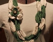 Green & White Upcycled T-shirt Infinity Scarf/Necklace with Detachable Flower Pin