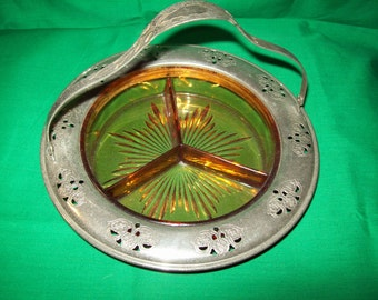 One (1), 1950's Farberware, Amber Glass, Divided Dish.