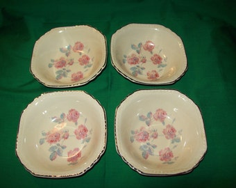 Four (4), Fruit / Dessert (sauce) Bowls, from The Salem China Co. in a Rose Pattern