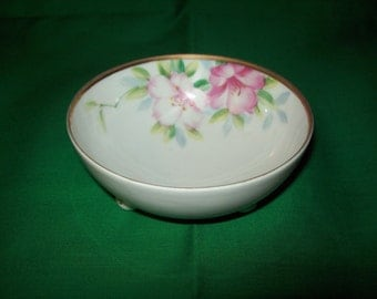 One (1), Nippon, 3 Footed Bowl, Hand Painted Floral Design