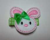 Easter Bunny Felt Hair Clip - Pink Bunny with matching Green Bow and Gingham Lined Clip (READY TO SHIP)