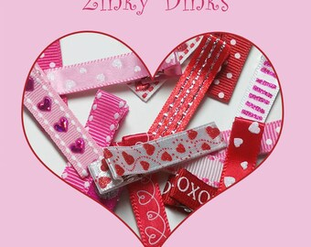 12 Valentines Day Themed Partially Lined Alligator Clips -- You Pick Color (QUICK TO SHIP)