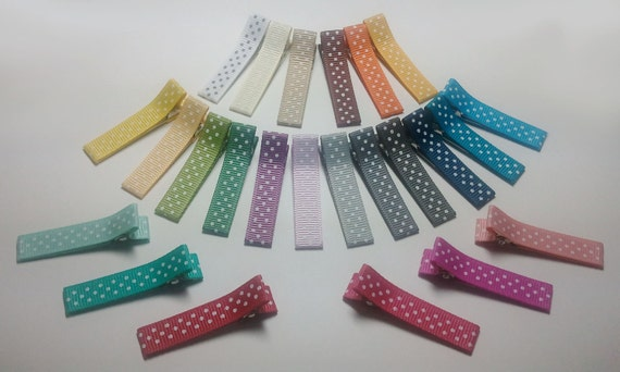 12 Partially Lined Alligator Clips - 32 Assorted Dots Collection from American Crafts - You Pick Colors (QUICK TO SHIP)