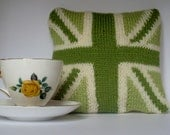 Knitted Union Jack throw pillow or scatter cushion