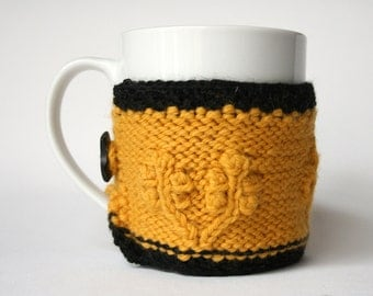 mug cozy, yellow and black cup cozy, coffee sleeve, coffee cozy