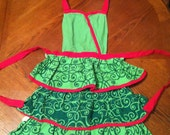 Vintage Full Apron - Red & Green