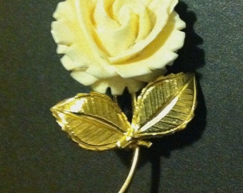 Faux Ivory flower brooch