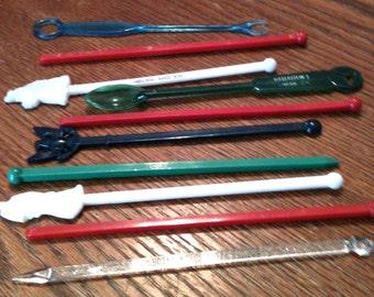 Vintage plastic swizzle sticks