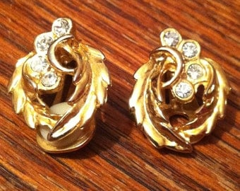 Gold leaf shaped clip on earrings