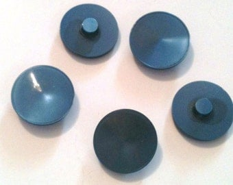 Blue plastic buttons