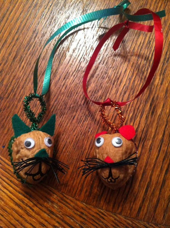 Cat and Mouse Walnut Ornaments