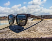 Handmade wood wooden wayfarer style sunglasses that float. Made with Eco-friendly Bamboo. Venice Model