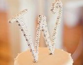 6 inch Pearl and Rhinestone Monogram Cake Topper
