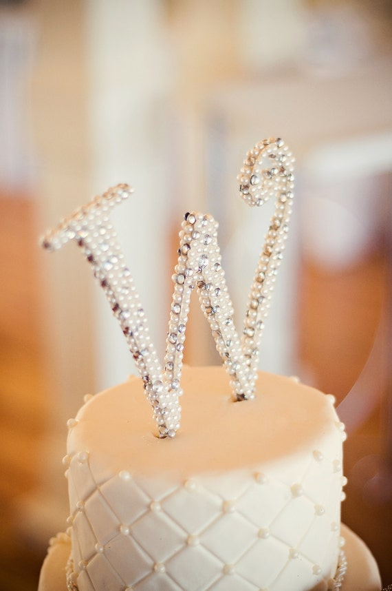 6 Inch Pearl And Rhinestone Monogram Cake Topper By