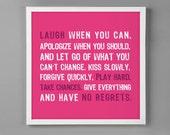 "Teen Girls Bed Room Print ""No Regrets"" Graphic Wall Art"