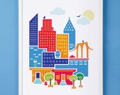New York City Art Print for Nursery or Children's Room Decor