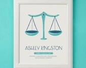 Libra - Personalized Zodiac Art Print for Nursery or Children's Room Decor