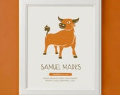 Taurus - Personalized Zodiac Art Print for Nursery or Children's Room Decor
