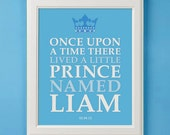 Once Upon A Time Personalized Prince Art Print for Nursery or Boy's Room Decor
