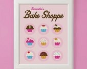Bake Shoppe Personalized Cupcake Art Print for Nursery or Girl's Room Decor