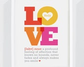 "Personalized ""Definition of Love"" Art Print for Nursery or Children's Bedroom Decor"