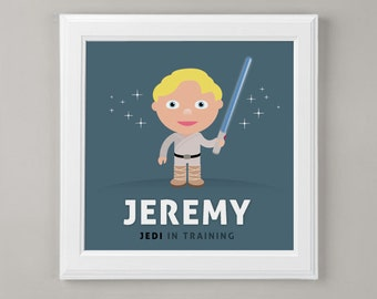 Star Wars - Jedi In Training - Personalized Art Print for Nursery or Children's Room Decor