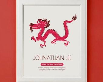 Year Of Dragon Chinese Zodiac SIgn Children's Wall Art