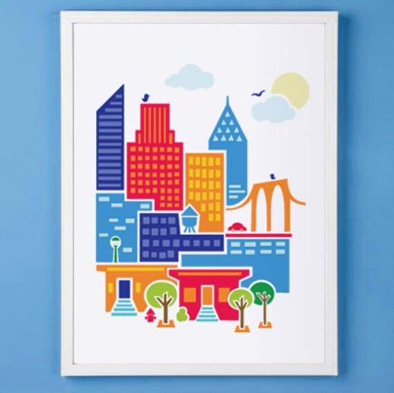 New York City Art Print for Nursery or Children's Room Decor