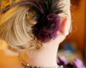 Purple Fascinator - Organza Flower & Feather Detail for Hair