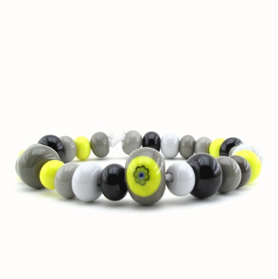 Handmade lampwork glass beads - DIY bracelet kit - yellow, black and grey