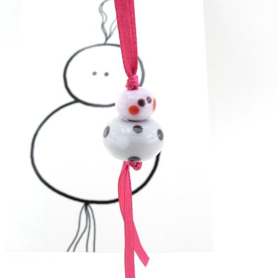Lucky charm doll and greeting card - handmade - glass - Christmas ornament