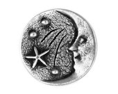 2 Moon and Stars 11/16 inch ( 18 mm ) Pewter Metal Buttons
