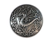 2 Draco Dragon 3/4 inch ( 20 mm ) Metal Buttons Silver Color