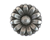 2 Morning Flower 7/8 inch ( 23 mm ) Metal Buttons Silver Color
