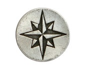 2 Compass Rose Star 1 inch ( 24 mm ) Pewter Metal Buttons