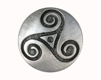 2 Celtic Triple Spiral Triskele 7/8 inch ( 22 mm ) Pewter Buttons