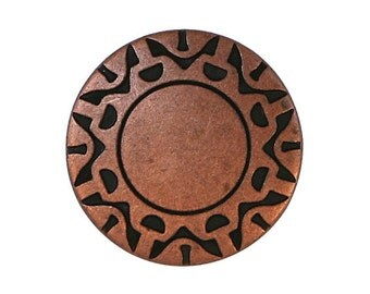 6 Cosmic Disc 11/16 inch ( 18 mm ) Metal Buttons Copper Color
