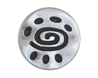 12 Spiral Glyph 3/4 inch ( 20 mm ) Metal Buttons Antique Silver Color