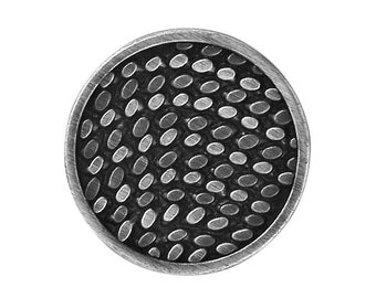 2 Dashes 7/8 inch ( 22 mm ) Metal Button Silver / Black Color