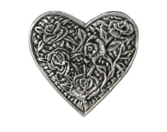 2 Rose Heart 1 inch ( 24 mm ) Pewter Buttons