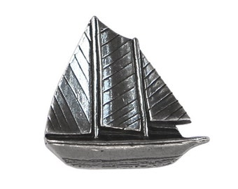 Danforth Sailboat 3/4 inch ( 20 mm ) Pewter Metal Button