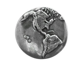 Danforth Planet Earth 7/8 inch ( 23 mm ) Pewter Metal Button