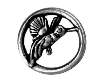 Nicky Epstein Hummingbird 1 inch ( 25 mm ) Metal Button Antique Silver Color