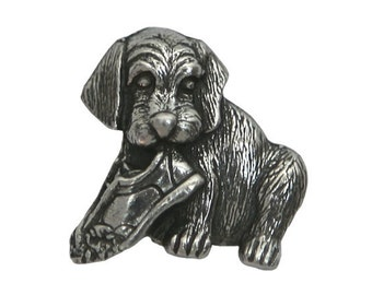 Danforth Rascal Puppy 3/4 inch ( 19 mm ) Pewter Metal Button