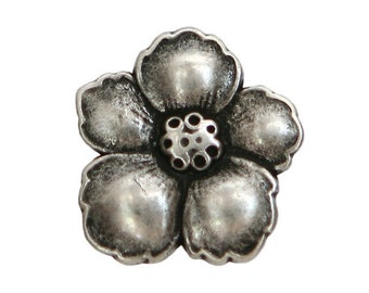 12 Hibiscus 3/4 inch ( 19 mm ) Metal Buttons Antique Silver Color
