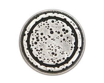 3 Rustic Rings 3/4 inch ( 20 mm ) Metal Buttons Silver Color