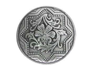 2 Italian Renaissance 7/8 inch ( 23 mm ) Pewter Buttons