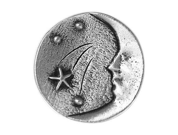 2 Moon and Stars 1 inch ( 26 mm ) Pewter Buttons Antique Silver Color