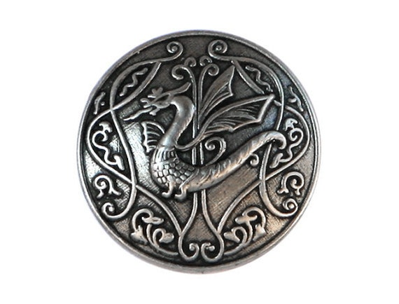 2 Draco Dragon 5/8 inch ( 15 mm ) Metal Buttons Antique Silver Color