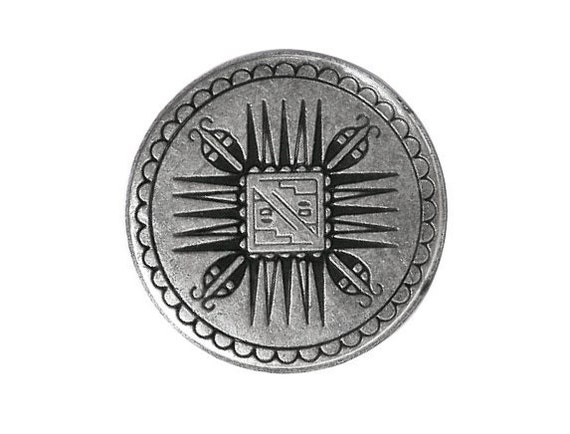 12 Mayan 7/8 inch ( 23 mm ) Metal Shank Buttons Silver Color